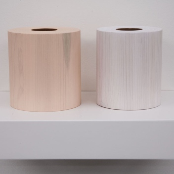 George Stoll Untitled (2 toilet paper rolls: pink and white) 1998 wood, spackle and alkyd on a painted wooden shelf 6 3/4 x 11 5/8 x 7 ½ inches https://www.georgestoll.net/