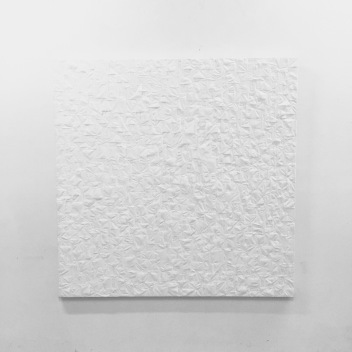 "Thinh Nguyen ""The Symptom of Late Stage Capitalism In Time of Quarantine"" limited two rolls of purchased toilet paper on repurposed canvas 60x60 inches 2020 http://thinhstudio.com/"