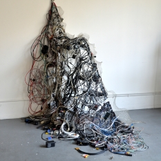 "Chenhung Chen I Ching in America H35 Coated wire, electrical cable & found objects. 72""x62""x68"" 2017 https://www.chenhungchen.com/"