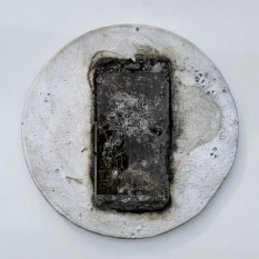 "Chris Collins Icon #3 Cell phone and aluminum 8"" x 8"" x 0.75"" 2020 http://www.chriscollinssculpture.com/"