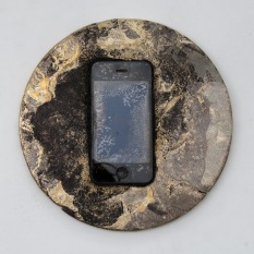 "Chris Collins Icon #4 Cell phone and bronze 8"" x 8"" x 0.75"" 2020 http://www.chriscollinssculpture.com/"