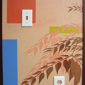 "Hilary Norcliffe Natural Habitat – Livingroom (2011) Acrylic, switch plates 28""x22"" http://hilarynorcliffe.com/"