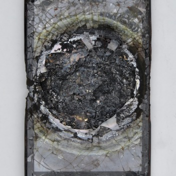 "Chris Collins Pad pad device and molten bronze 8.25"" x 5"" x 0.5"" 2020 http://www.chriscollinssculpture.com/"
