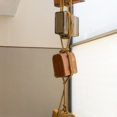 Susan Amorde Block and Tackle, 2013 Mixed media 18 x 5-1/2 x 4-1/2 ft https://www.susanamorde.com/