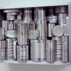 Lynn Aldrich Still Life Shelf Life Metal canned food containers, aluminum, wood, enamel 24x32x10 1998 https://lynnaldrich.com/
